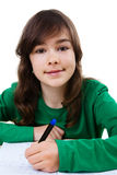 Девушка делая домашнюю работу Стоковое Изображение RF