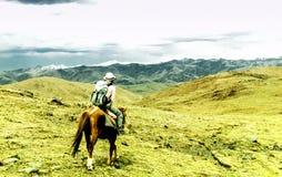 Девушка делая лошадь trekking в тибетских гористых местностях Китая стоковая фотография rf