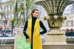 Девушка делая покупки в городе Стоковое Фото
