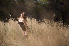 Девушка женщины в красоте страны поля Стоковое Изображение