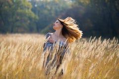 Девушка женщины в красоте страны поля Стоковые Изображения RF