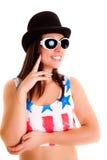 Девушка женщин при шляпа изолированная на белом диско предпосылки Стоковая Фотография