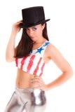 Девушка женщин при шляпа изолированная на белом диско предпосылки Стоковая Фотография RF