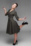 Девушка жизнерадостных танцев ретро Стоковое Изображение RF