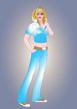 Девушка джинсовых тканей иллюстрация вектора