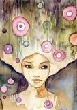 девушка задумчивая иллюстрация штока