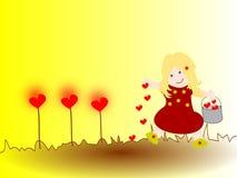Девушка засаживает сердца, что делать вырастет Стоковое Фото