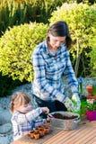 Девушка засаживая шарики цветка Стоковое Изображение