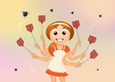 Девушка задавливает мух иллюстрация вектора