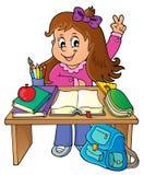 Девушка за изображением 1 темы стола школы бесплатная иллюстрация