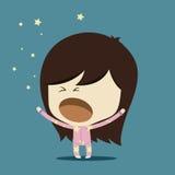 Девушка зевка в пижамах Стоковая Фотография RF