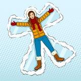 Девушка зимы делает вектор искусства шипучки ангела снега Стоковая Фотография RF