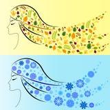 Девушка зимы и девушка осени. 4 сезона бесплатная иллюстрация