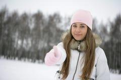 Девушка зимы. О'КЕЙ Стоковые Фотографии RF
