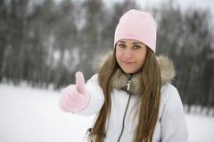 Девушка зимы. О'КЕЙ Стоковое фото RF
