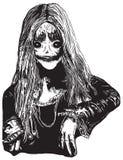 Девушка зомби, нарисованная рукой иллюстрация вектора Стоковые Фотографии RF