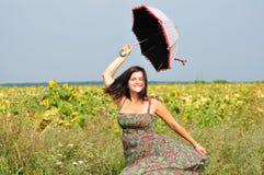 Девушка зонтика Стоковые Фото