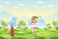Девушка играет гольф на поле для гольфа иллюстрация вектора