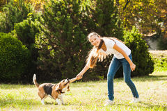 Девушка играет с собакой в дворе Стоковое Изображение RF