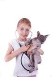 Девушка играя ветеринар с shpinx кота стоковое изображение rf