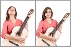 Девушка играя комплект гитары Стоковые Изображения