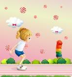 Девушка играя на поле с плавать шариков конфеты бесплатная иллюстрация