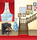Девушка играя рояль в доме бесплатная иллюстрация