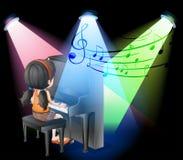 Девушка играя рояль на этапе иллюстрация вектора
