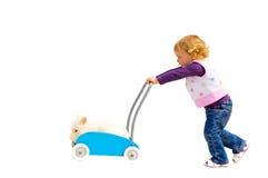 Девушка играя с кроликом любимчика Стоковые Изображения RF