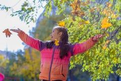 Девушка играя с листьями осени желтыми стоковые изображения rf