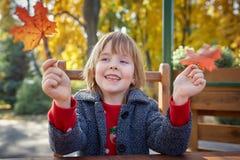 Девушка играя с листьями осени стоковое фото rf