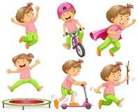 Девушка играя с различными оборудованиями иллюстрация штока