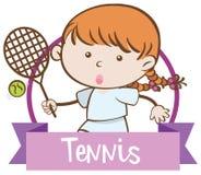 Девушка играя теннис на белой предпосылке Стоковая Фотография RF