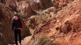 Девушка идет вдоль каньона акции видеоматериалы