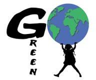 девушка идет зеленый цвет Стоковые Изображения