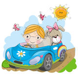 Девушка идет на автомобиль иллюстрация вектора