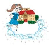 Девушка идя к школе - карточке Стоковая Фотография