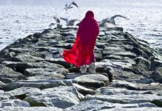 Девушка идя на волнорез в красной накидке с чайками стоковое изображение rf