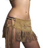 девушка изолировала кожаную юбку Стоковое фото RF