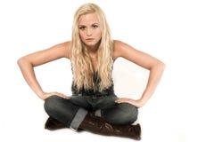 девушка изолировала сидеть Стоковая Фотография