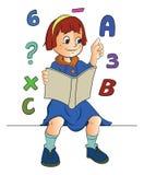 Девушка изучая математику, иллюстрацию Стоковое фото RF
