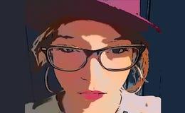 Девушка иллюстрации со шляпой и стеклами стоковая фотография rf