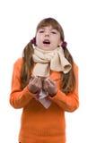 девушка имеет больную чихая боль в горле Стоковая Фотография