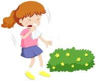 Девушка имея аллергию от цветня иллюстрация штока