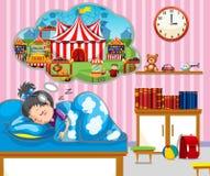 Девушка имея хорошую мечту в кровати бесплатная иллюстрация