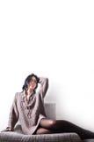 Девушка, длинные волосы и длинные ноги в колготках Стоковое Фото