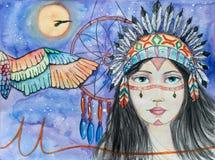 Девушка индейца акварели Стоковое фото RF