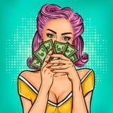 Девушка искусства шипучки вектора с наличными деньгами иллюстрация вектора