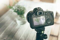 Девушка используя фотографию камеры вазы цветка Стоковые Фото