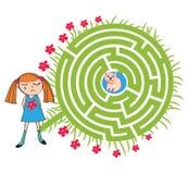 Девушка и лабиринт игрушечного Стоковое Изображение